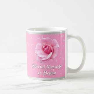 Pretty Pink Rose Mugs, Personalized Mugs for Her