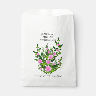 Pretty Pink Rose Wedding Favour Bags