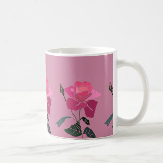 Pretty Pink Rose with Pink Background Coffee Mug