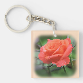 Pretty Pink Rose with Raindrops Key Ring