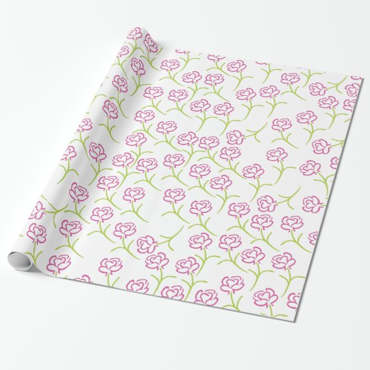 Pretty Pink Rose Wrapping Paper