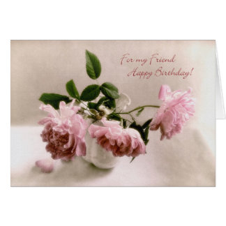 Pretty Pink Roses Birthday Card for a Friend
