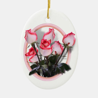 Pretty Pink Roses Christmas Ornaments
