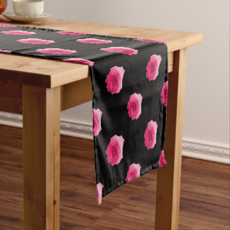 Pretty Pink Roses Floral Design Short Table Runner