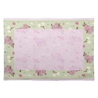 Pretty Pink Roses Vintage Floral Design Placemat