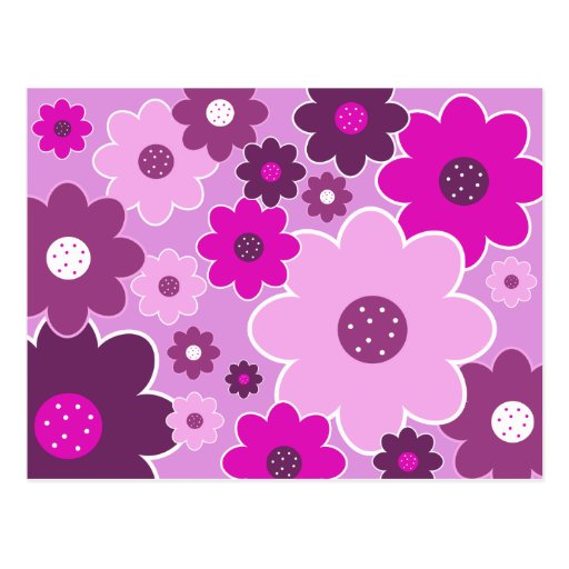 Pretty Pink Shabby Chic Floral Wallpaper Pattern Post Card