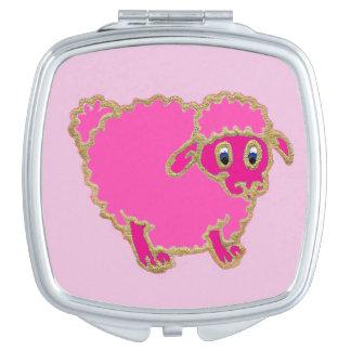 Pretty pink sheep cartoon vanity mirrors