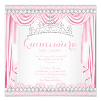 Pretty Pink Silk Quinceanera Diamond Tiara White 13 Cm X 13 Cm Square Invitation Card