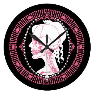 Pretty Pink Skull Portrait Clock