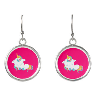 Pretty Pink Sleeping Unicorn Earrings