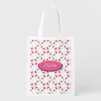 Pretty Pink Spring Vine Flowers Monogram Reusable Grocery Bags