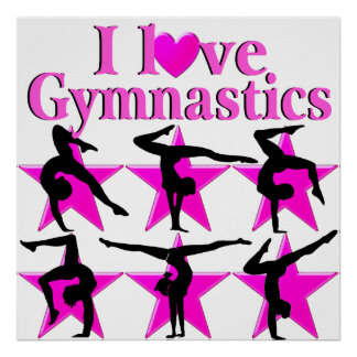PRETTY PINK STAR GYMNAST POSTER