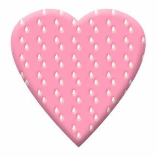 Pretty Pink Strawberry Heart on White Cut Out