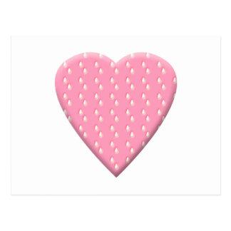 Pretty Pink Strawberry Heart on White. Postcard