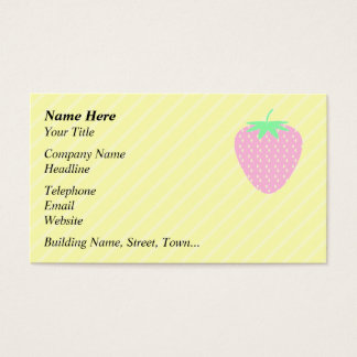 Pretty Pink Strawberry on Yellow Stripes. Business Card