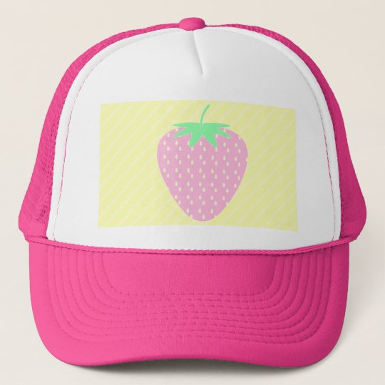 Pretty Pink Strawberry on Yellow Stripes. Cap