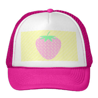 Pretty Pink Strawberry on Yellow Stripes. Mesh Hat
