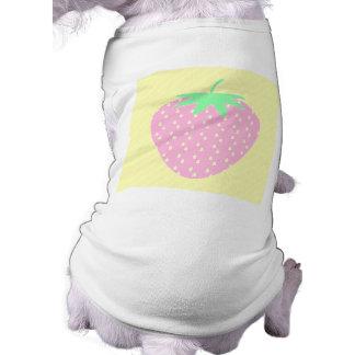 Pretty Pink Strawberry on Yellow Stripes. Doggie Shirt
