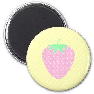 Pretty Pink Strawberry on Yellow Stripes. Magnet