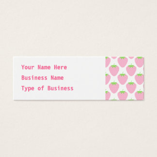 Pretty Pink Strawberry Pattern. Mini Business Card