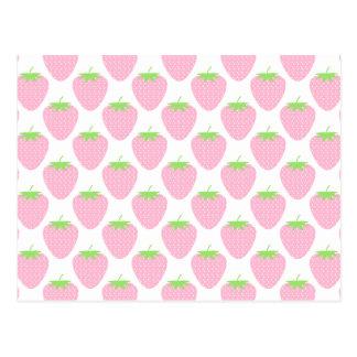 Pretty Pink Strawberry Pattern. Postcard