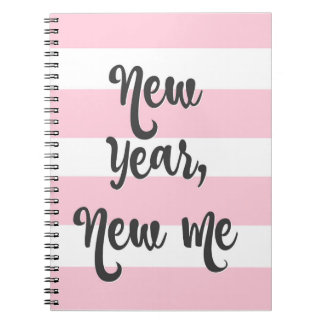 Pretty Pink Stripe Journal New Year New Me