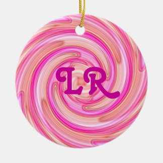 Pretty pink tones girly swirl monogram christmas ornament