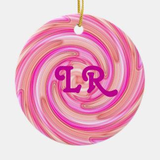 Pretty pink tones girly swirl monogram round ceramic decoration