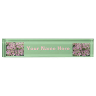 Pretty Pink Tropical Flowers Custom Desk Plate