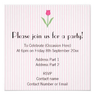 Pretty Pink Tulip Flower. 13 Cm X 13 Cm Square Invitation Card