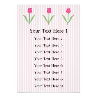Pretty Pink Tulip Flower. 13 Cm X 18 Cm Invitation Card
