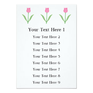 Pretty Pink Tulip Flower. 13 Cm X 18 Cm Invitation Card