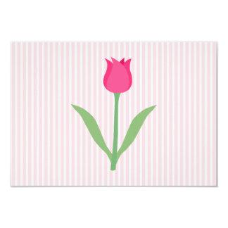 Pretty Pink Tulip Flower. 9 Cm X 13 Cm Invitation Card