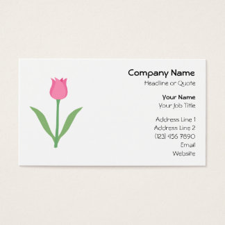 Pretty Pink Tulip Flower. Business Card