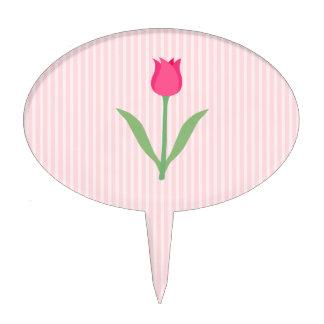 Pretty Pink Tulip Flower Cake Picks