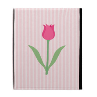 Pretty Pink Tulip Flower iPad Folio Covers