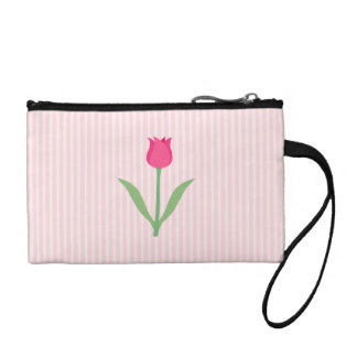 Pretty Pink Tulip Flower. Change Purses