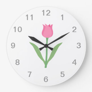 Pretty Pink Tulip Flower. Wallclock