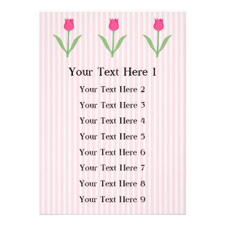 Pretty Pink Tulip Flower Personalized Invitation