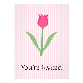 Pretty Pink Tulip Flower Custom Invitation
