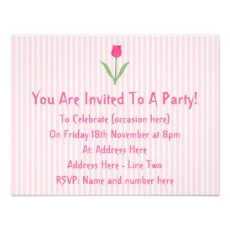Pretty Pink Tulip Flower Custom Invitations