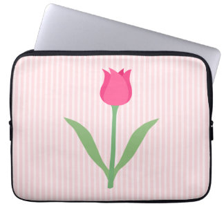 Pretty Pink Tulip Flower. Laptop Computer Sleeve
