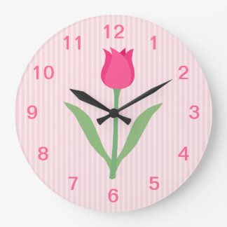 Pretty Pink Tulip Flower. Large Clock