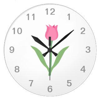 Pretty Pink Tulip Flower. Large Clock