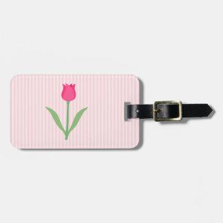 Pretty Pink Tulip Flower. Luggage Tag