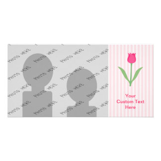 Pretty Pink Tulip Flower. Picture Card