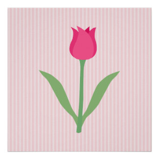 Pretty Pink Tulip Flower Print