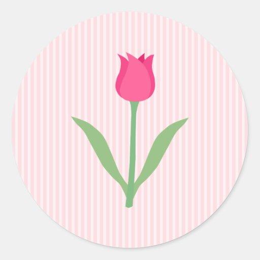 Pretty Pink Tulip Flower. Sticker
