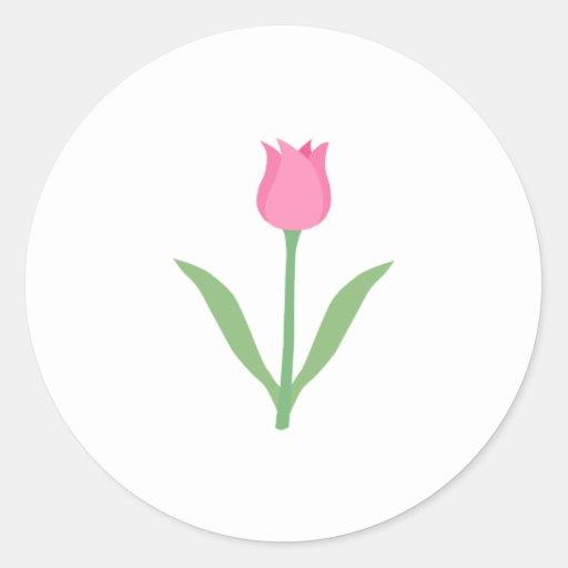 Pretty Pink Tulip Flower. Round Stickers
