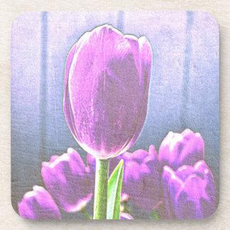 Pretty Pink Tulip Flowers Coaster Set